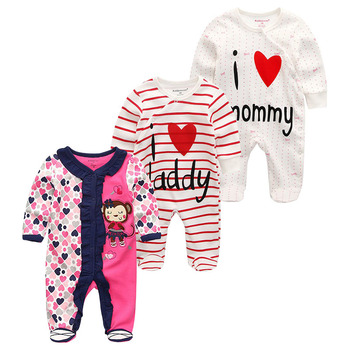 0-12Months Baby Rompers Newborn Girls&Boys 100%Cotton Clothes of Long Sheeve 1/2/3Piece Infant Clothing Pajamas Overalls Cheap - Baby Rompers RFL3706, 12M