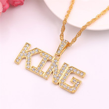 Hip Hop Inlaid Zircon Letter Pendant Necklace Full Rhinestone Cuban Link Chain Hiphop Necklace Jewelry Gift Gold Chain trendy rhinestone inlaid letter round pendant necklace for lovers