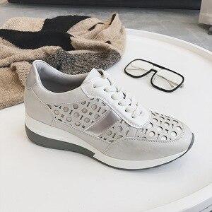 Image 1 - 2020 Flat Platform Sneakers Women Autumn Winter Brand Designer Casual Lightweight Ladies Shoes Hollow Dot Design