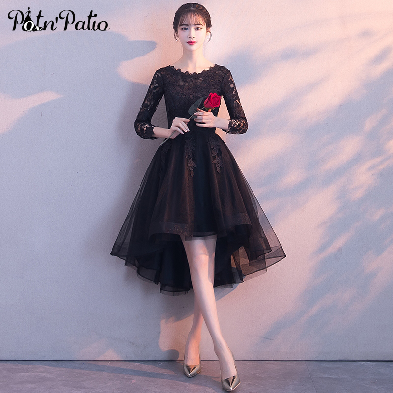 Long Sleeves Prom Dresses 2019 Short Front Long Back Black Cocktail Dresses Lace Tulle High Low Graduation Dresses