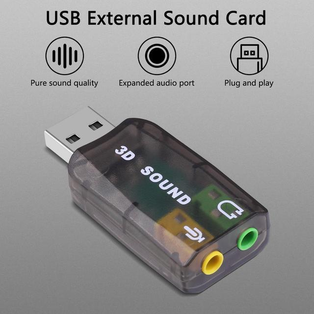 GOOJODOQ External USB Sound Card Adapter Audio 5.1 virtual 3D USB to 3.5mm microphone Speaker headphone Interface For Laptop PC 2