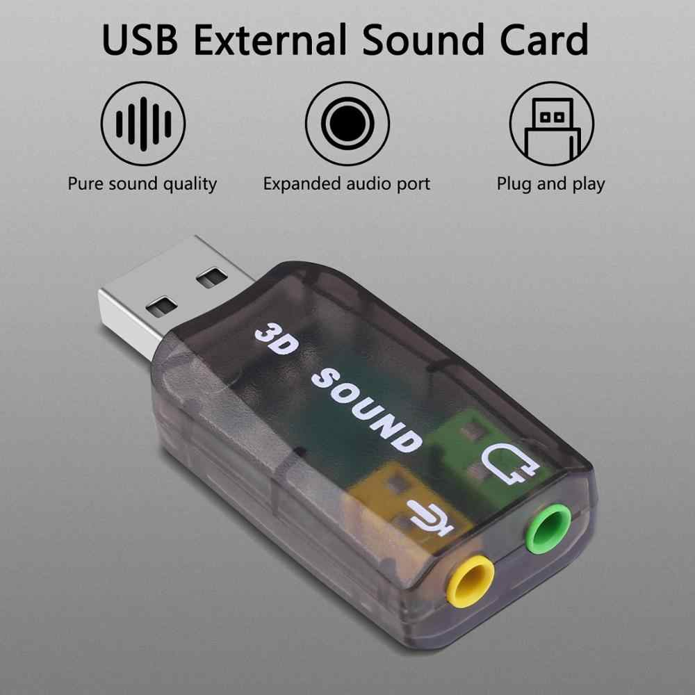 Goojodoq External USB Sound Card Adapter Audio 5.1 Virtual 3D USB untuk 3.5 Mm Mikrofon Speaker Headphone Antarmuka untuk Laptop pc