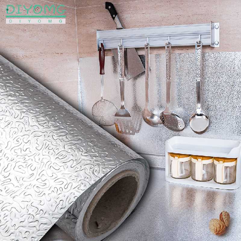Kitchen Oil-proof Self Adhesive Stickers Anti-fouling High-temperature Aluminum Foil Waterproof Wallpaper Cabinet Contact Paper 2