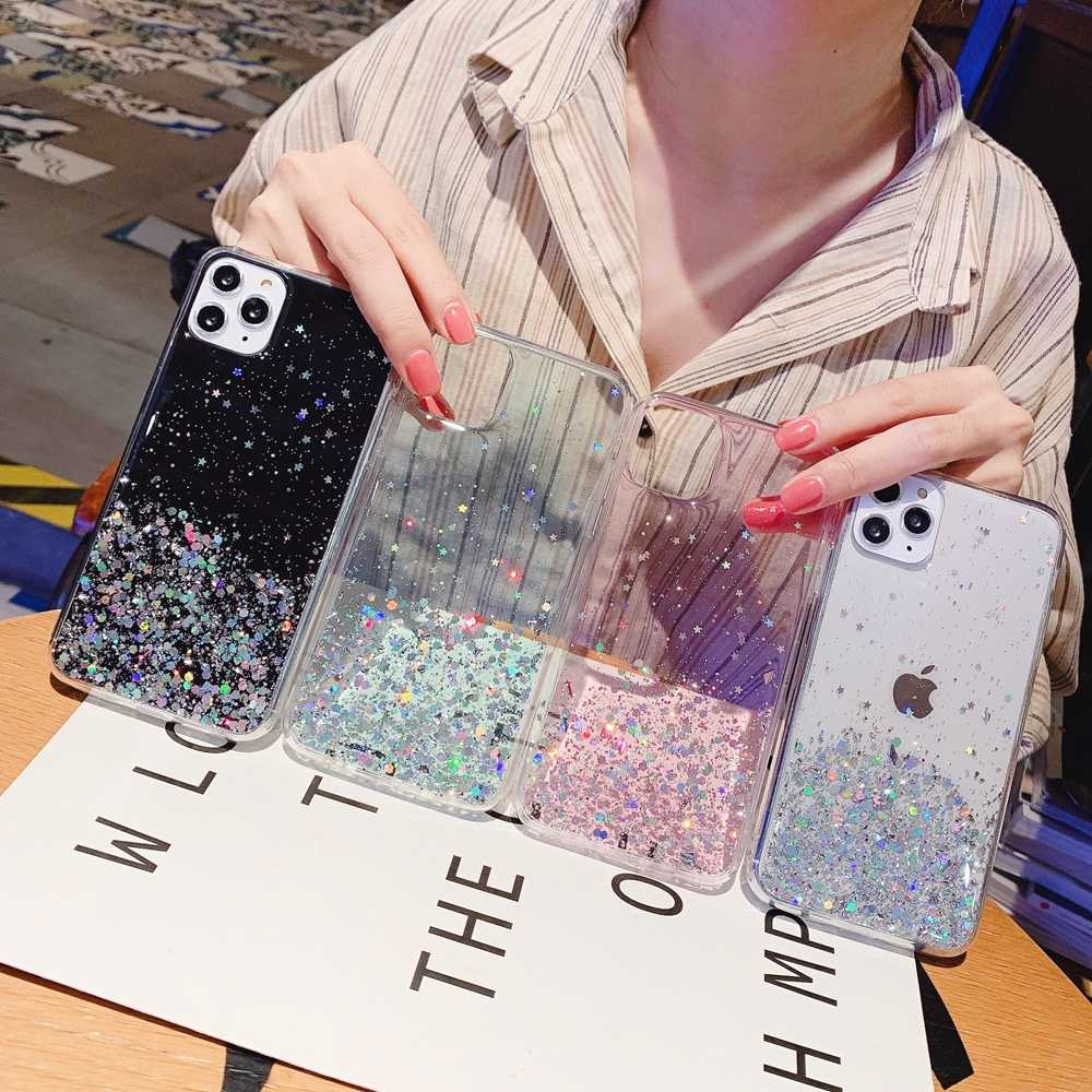 Glitter Bling Sequins iphone için kılıf 8 7 artı XR XS 6 6s epoksi yıldız iphone için kılıf 11 Pro MAX X XR yumuşak şeffaf TPU kapak