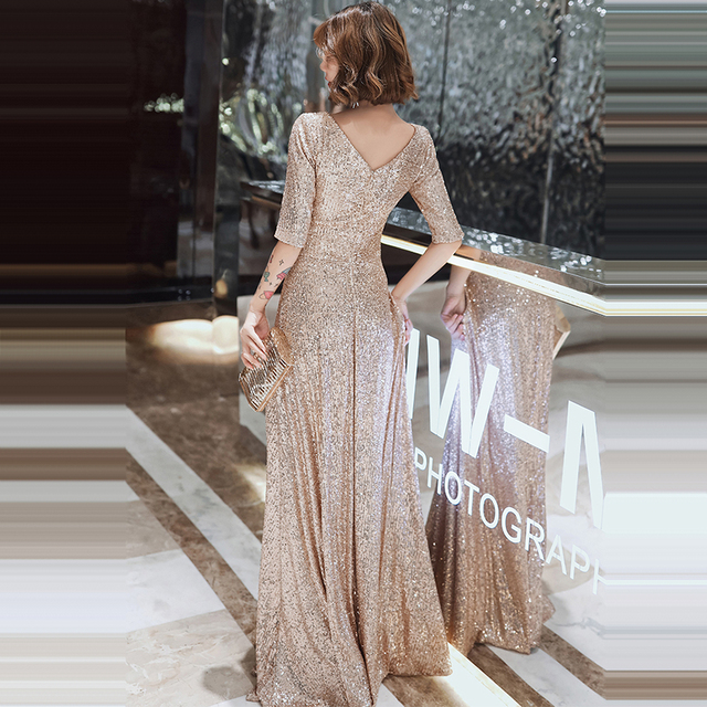 Sparkle Sequined Evening Dresses It's Yiiya K004 Double V-neck Evening Dress Elegant Robe De Soiree 2020 Plus Size Evening Gown 3