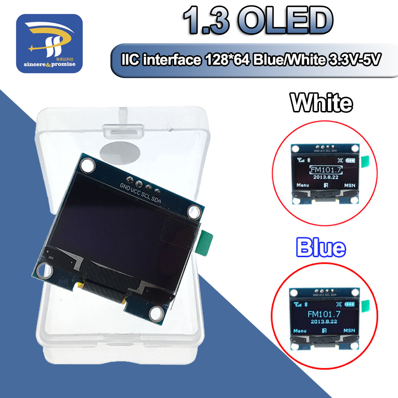 "1 pces 1.3 ""módulo oled branco e azul cor iic i2c 128x64 1.3 polegada oled lcd display led módulo para arduino iic i2c se comunicar"