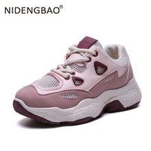 цены Women Shoes New Chunky Sneakers For Women Leather Breathable Sports Shoes Running Sneakers Ladies Pink Trainers Chaussure Femme