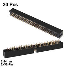 Uxcell, 20 piezas, 2,54mm, inclinación 2x32-Pin, doble fila, Conector recto, tira de conectores de pines hembra, zócalo de placa PCB(China)