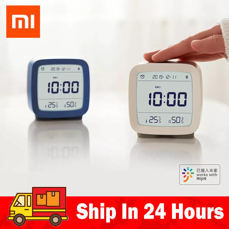 In stock Qingping Bluetooth Temperature Humidity Sensor Night Light LCD Alarm Clock Mihome App control Thermometer image