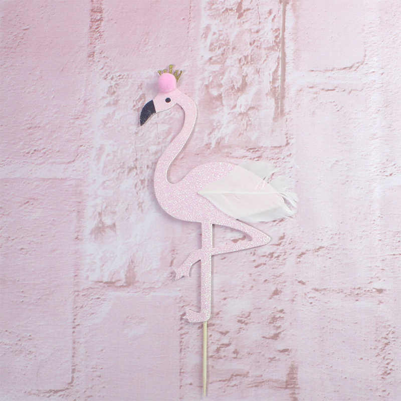 Flamingo yeşil yaprak mutlu doğum günü pastası Topper kek dekorasyon doğum günü pişirme dekorasyon bebek duş düğün süslemeleri
