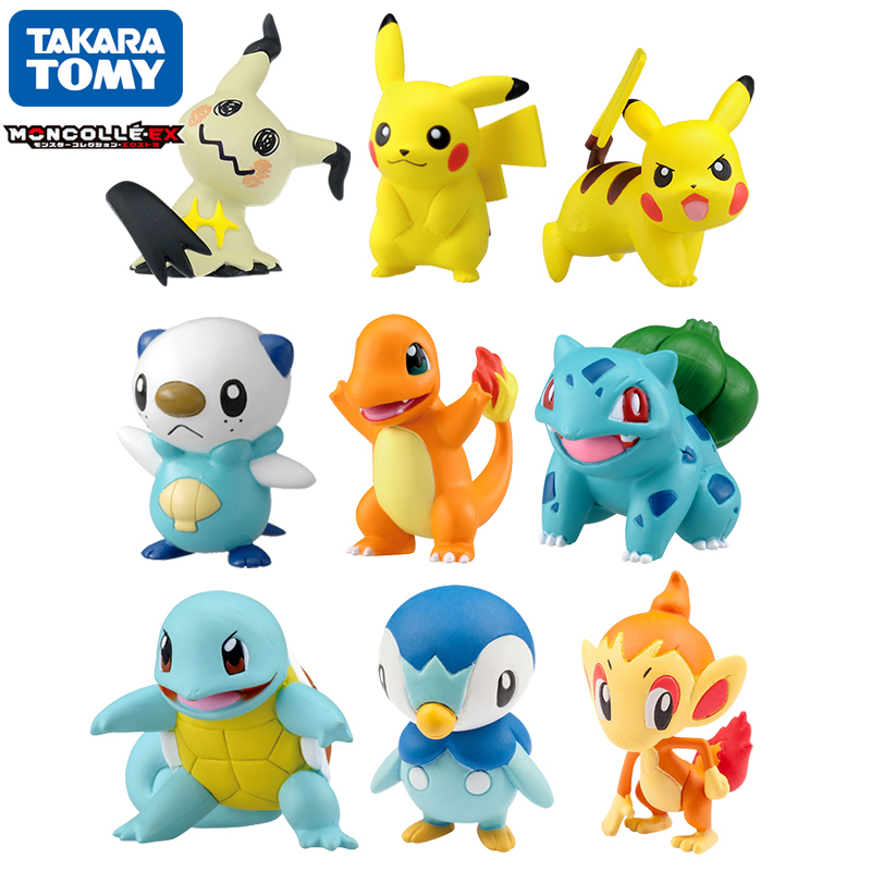 Tomy-figuras de acción de Pokémon, Charmander, Popplio, Litten, Pikachu, Rowlet, Treecko, Eevee, Fennekin, Greninja, muñecos de juguete de 4-6cm