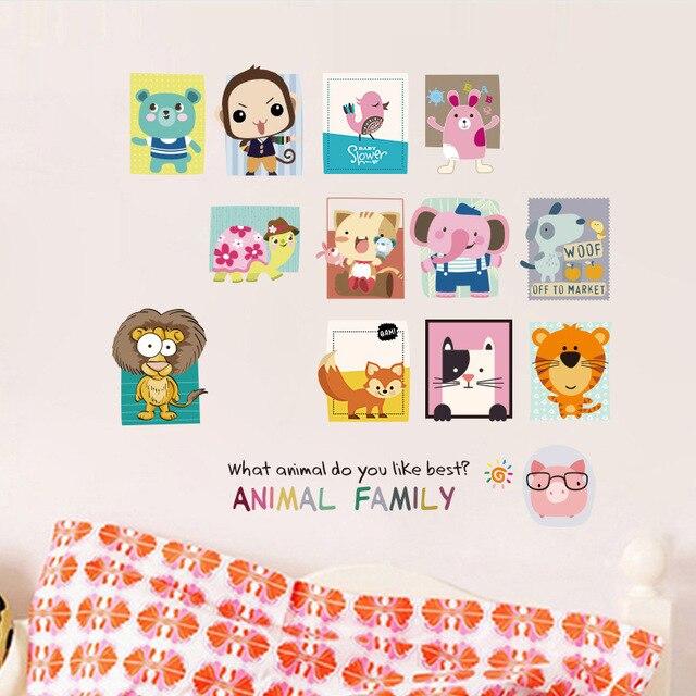 Фото наклейка на стену с изображением семьи животных детская комната цена