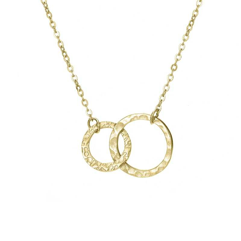 Korean Version Of The Classic Stainless Steel Necklace Women's Round Double Circle Pendant Necklaces Fashion Jewelry necklace wo