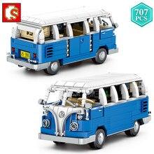 Технические идеи SEMBO, статический городской автобус, строительные блоки, синяя модель экскурсионного автобуса, кирпичи, игрушки для детей, Н...