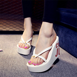 Image 2 - XMISTUO Fashion Women Flip Flops Female Summer Beach Wedges Water resistant 11cm Super High heeled Slippers 4 Color 7041