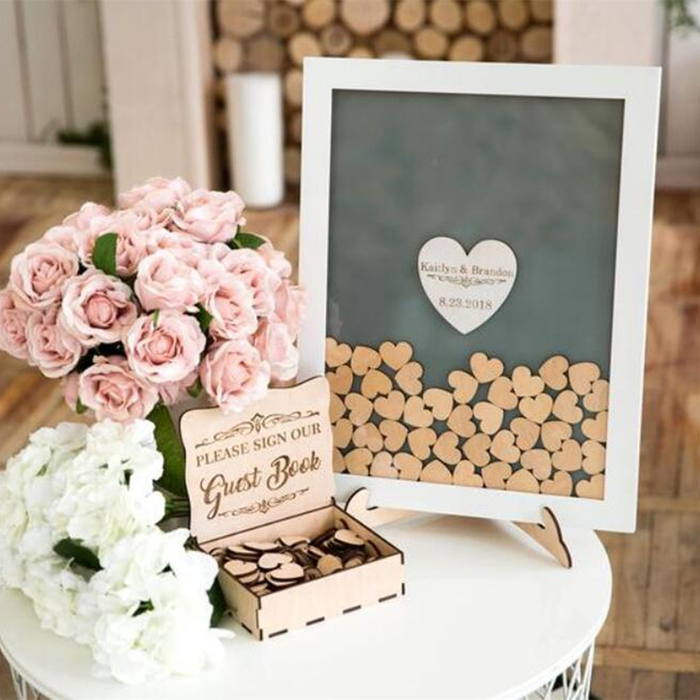 Custom Drop Top Guestbook White Frame Personalised Wedding Guest Book Alternative Wooden Heart Guest Book