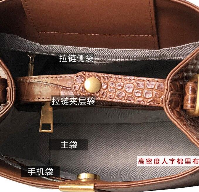 Bolso clásico de piel de vaca con patrón de cocodrilo para mujer bolso elegante bandolera bolso de cuero genuino para mujer Bolsa DF453 - 5