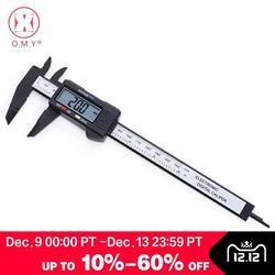 O.m.y 1 pces ferramenta de medição 0-150mm 6 Polegada plástico lcd eletrônico digital fibra de carbono vernier caliper regra calibre micrômetro