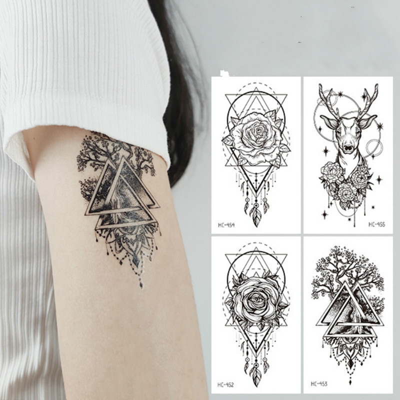 Waterproof Black Tattoo Sticker Temporar Fake Tattoo Anime  Arm Tattoo  Halloween Butterfly Sticker  Fake Tattoo for Woman