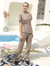 Cosmetologist overalls female high-end spring and autumn foot bath technician health club short-sleeve set