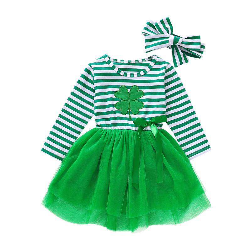 2Pcs Toddler Baby Kids Girls St.Patrick's Day Clothes Clover Party Princess Tulle Tutu Dress Striped Mesh Skirt Headband Vestido