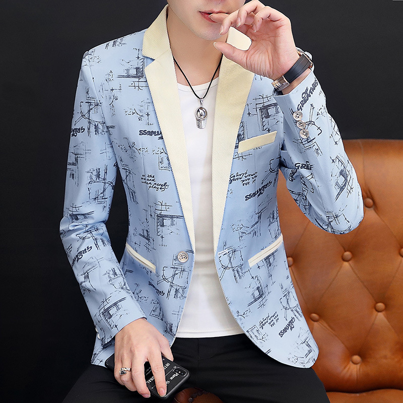 HOHO 2020 Men Printed Casual BLAZER Youth Slim Fit Trend Handsome Harmonia Collar Joint BLAZER