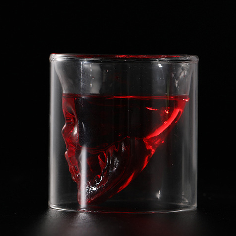 Transparent Crystal Skull Head Shot Crystal Glass Double Layers Shot  Tea Cup For Whiskey Wine Vodka Bar Club Beer Wine Glasses
