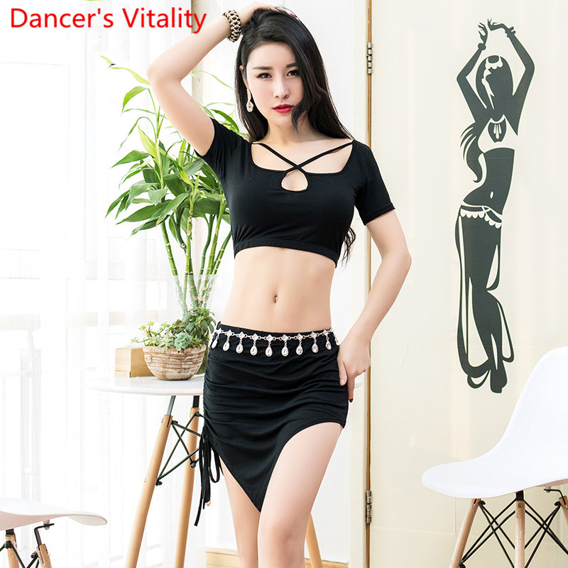 Belly Dance Practice Clothes New Summer Training Outfits Top Skirt 2pcs Set Women Beginners Modal Performance Costume