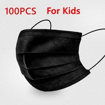 Black Pink Child Mask Disposable Protective Face Mask 3 Layer Nonwoven Anti-bacterial Dustproof Mouth Face Mask for Kids Health 14