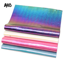 AHB 4pcs/set Synthetic Leather Sheets Rainbow Burst Crack Metal Faux DIY Hair Accessories Garment Decorative Materials