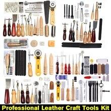 61 шт., профессиональный набор инструментов для кожевенного ремесла, домашняя ручная швейная строчка, резной инструмент, аксессуары для коже...