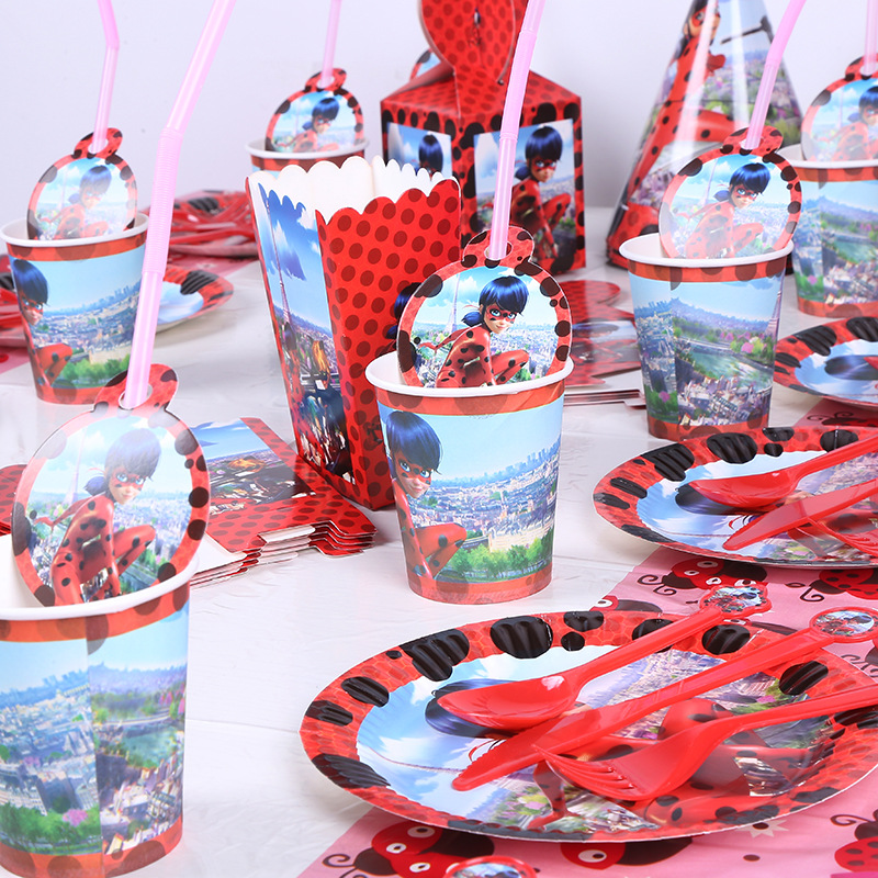 Ladybug Party Disposable Tableware Child Birthday Decoration Holiday Tableware Party supplies Paper Plate+Cup+Tablecloth+Napkin