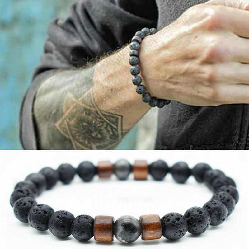 Тренд мужской браслет вулканический камень деревянные бусины Ретро Браслет национальная индивидуальность уличное искусство браслет, украшение, подарок