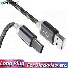 Cabo usb tipo c longo de 10mm, fio para carregamento rápido para blackview bv9900 pro bv6100 bv9700 bv9600 oukitel u18 USB-C tomada carregadora de fio