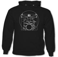 Vitruvian Drummer (Man) Mens Funny Drumming Hoodie Drums Drum Kit Stick