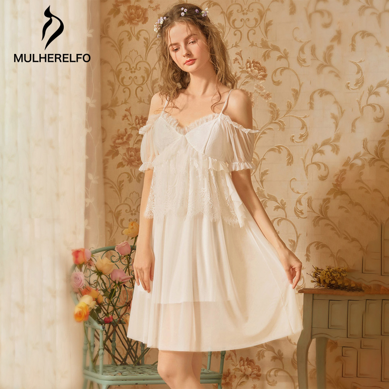 Princess Style White Lace Nightgown For Women Off Shoulder Nightgown Women'S Cotton Sexy Para Verano 2019 Nightgown For Women