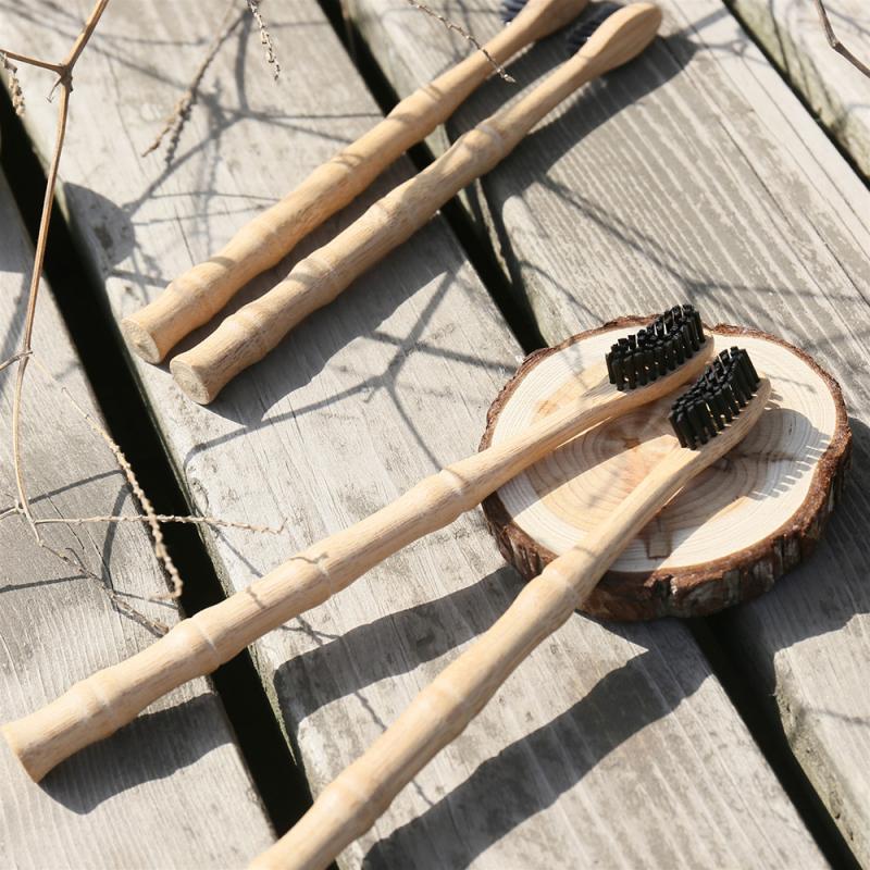 1 adet bambu saplı diş fırçası yüksek kaliteli çevre dostu siyah yumuşak saç derin temizlik diş yetişkin diş fırçaları sözlü hijyen araçları