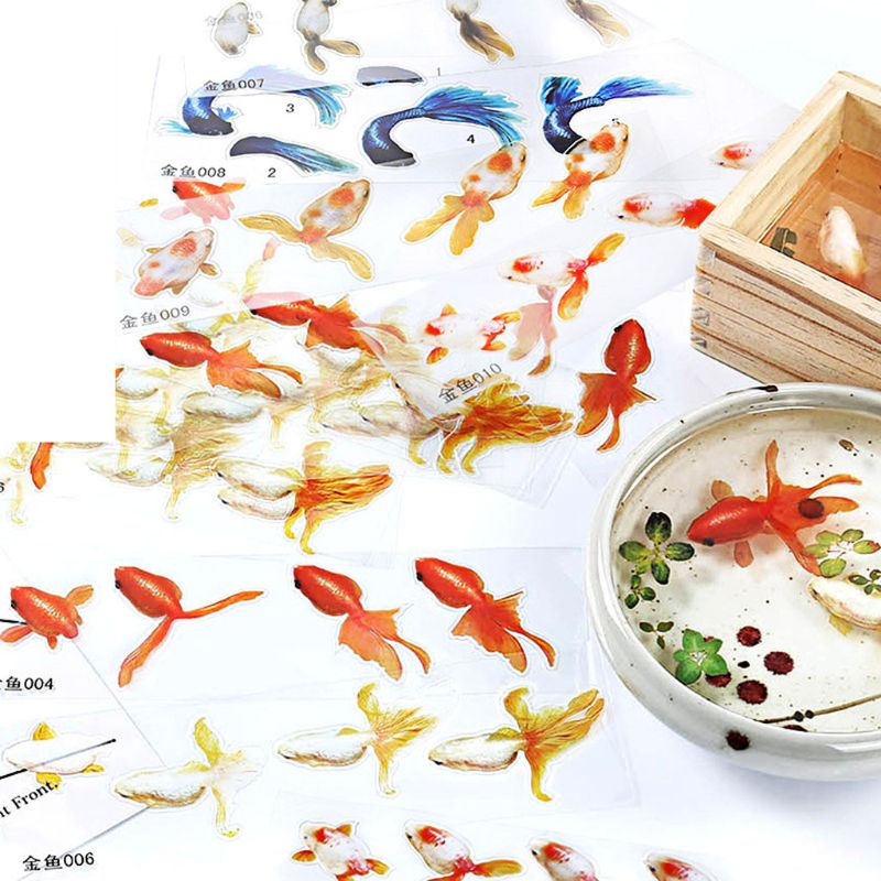 10 Sheets Blue Gold Fish UV Resin Stickers Fit Silicone Mold DIY Micro Landscape Scrapbooking Stickers DIY Resin Crafts Fillings