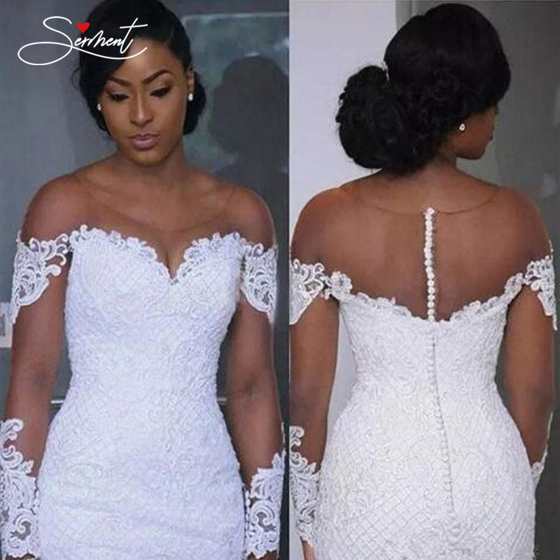 SERMENT Elegant Lace Mermaid Wedding Dress Full Floral Print Lace Up Church Suitable For Wedding Africa Europe Americas Bride