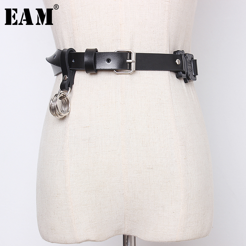 [EAM]  Pu Leather Black Buckle Split Joint Long Wide Belt Personality Women New Fashion Tide All-match Spring 2020 1N942