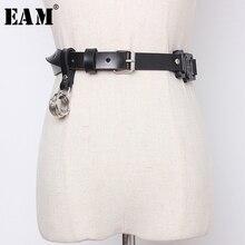 [EAM] Pu Leather Black Buckle Split Joint Long Wide Belt Personality Women New F