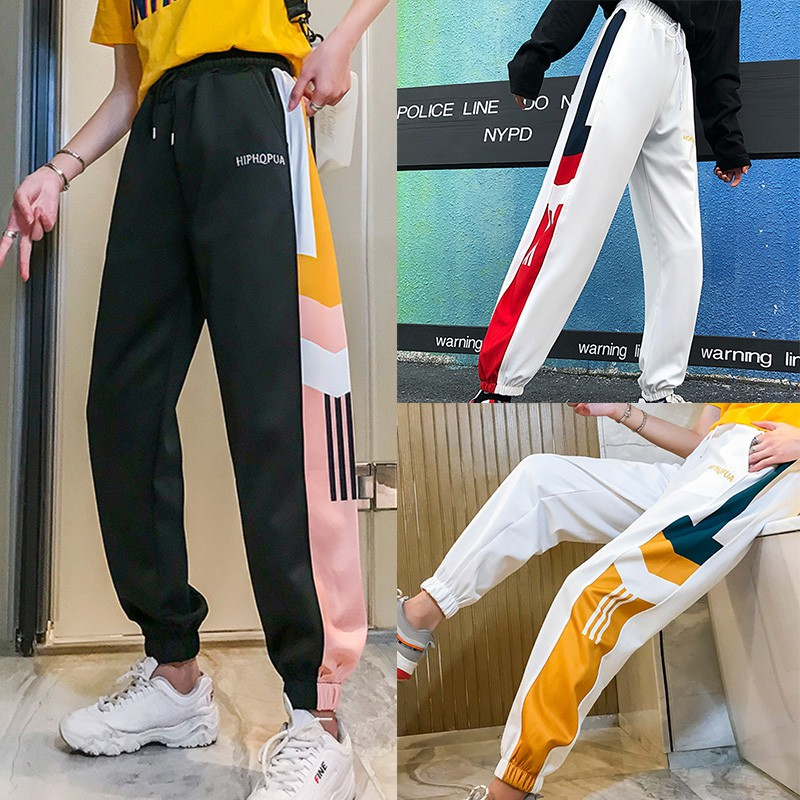 Harajuku Style Loose Casual Harem Pants Sweatpants Simple High Waist Women's Straight Pants Ankle-Length Pants With Pockets