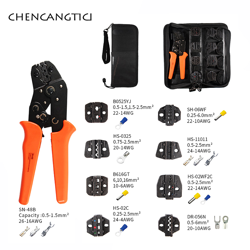 1 set crimping tool for 4.8 6.3 terminal crimper sn-48b crimping pliers wire 0.5-1.5mm2 alicate AWG 20-15 hand tool kit(China)