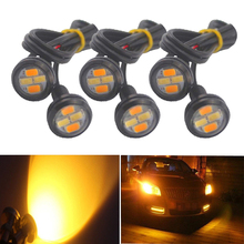 цена на 6 pcs 5630 4SMD 23MM Dual colors Xenon white Eagle Eye Lamp LED Daytime Running Light DRL with Yellow Turn Signal chassis light