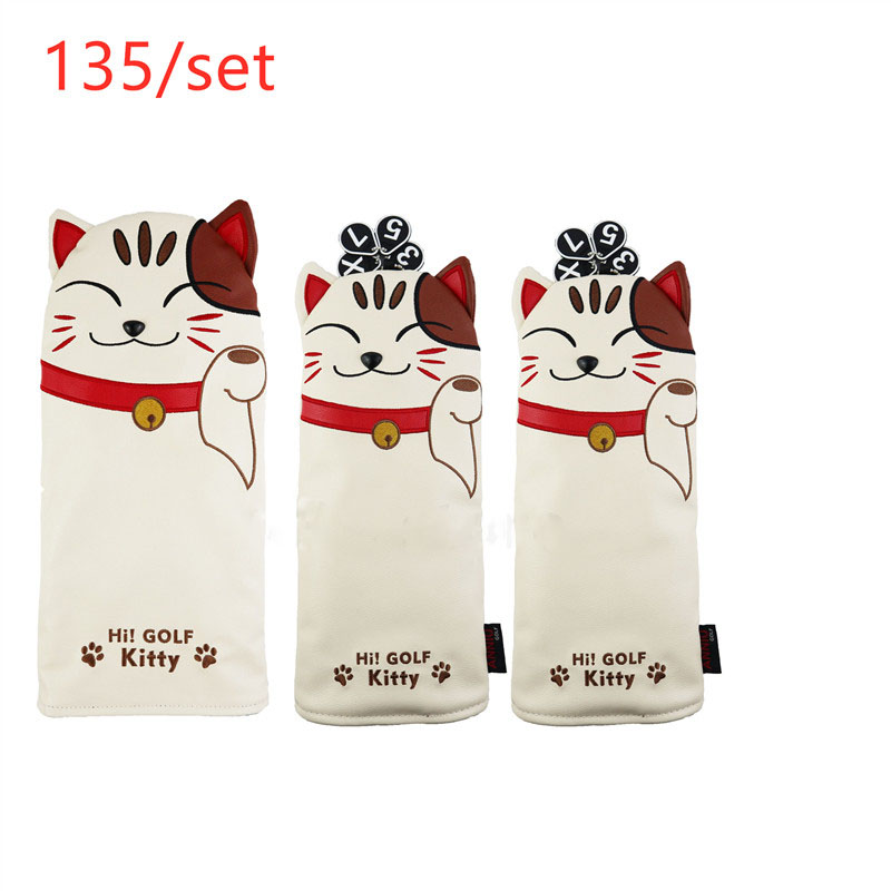 3 Models Lucky Cat Golf Driver Headcover PU Leather Putter Headcover Golf Fairway Woods Hybrid Clubs Head Covers For Man Women