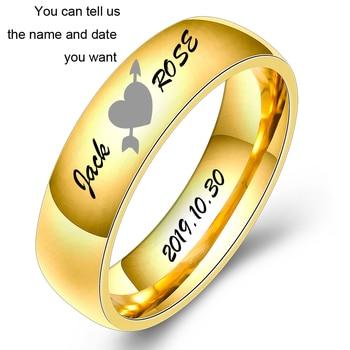 цена Fashion Jewelry High Polished Engrave Name Date Logo Ring Wholesale Stainless Steel Wedding Engagement Brand Rings For Men Women онлайн в 2017 году