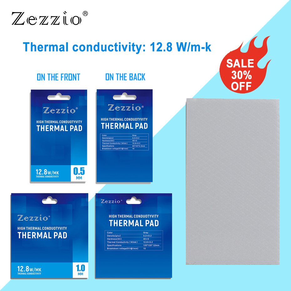 Zezzio Thermal Pad conductivity 12.8W/MK for CPU GPU Motherboard Mining RAM Multifunction Thermal conductive silicone pad