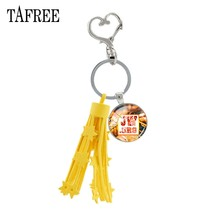 TAFREE 2019 new summer fashion JW.ORG yellow leather tassels keychain tool Jehovah's Witnesses jewelry for car Decoration JW01(China)