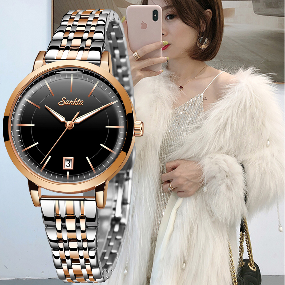 2020 SUNKTA Luxury Watch Women Waterproof Rose Gold Steel Strap Ladies Wrist Watches Top Brand Bracelet Clock Relogio Feminino