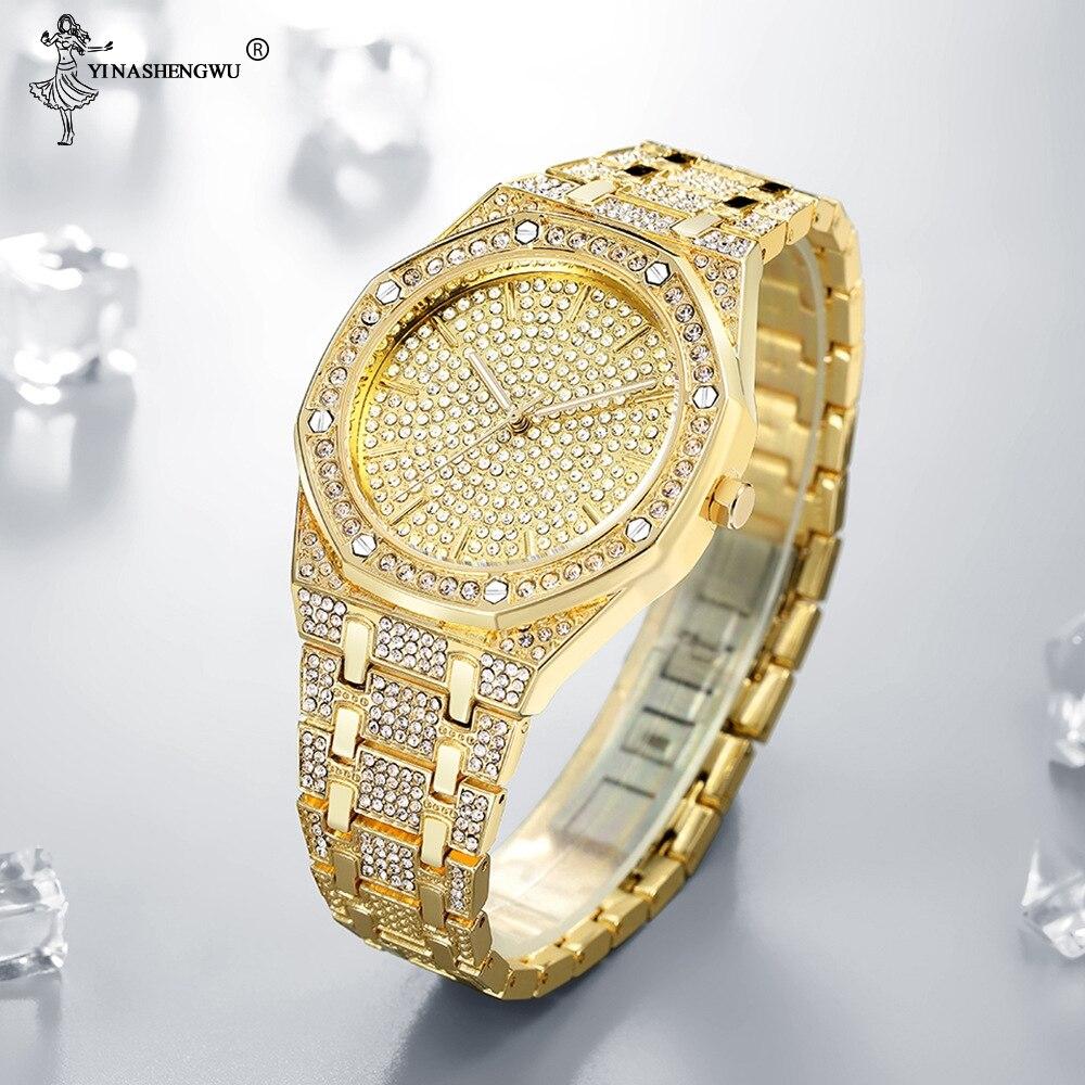 Hip Hop Watch Bling Luxury Alloy+Diamond Watch Men Silver Steel Band Men 's Business Quartz Wrist Watches Waterproof 24 * 16MM
